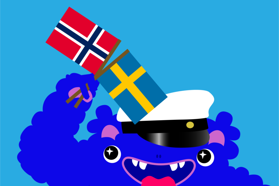 Mussila Monster holding flags of Norway and Sweden