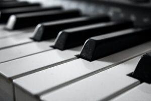 A close of piano keys on a Grand Piano