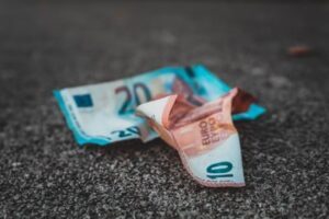 Two crumpled up euro notes