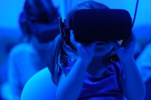 Children learning through new technologies such as virtual reality
