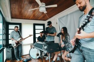 A rock band rehearsal at home