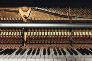 A golden concert piano